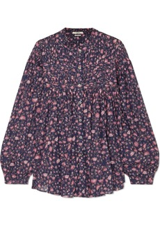 Isabel Marant Laila Pintucked Floral-print Cotton Blouse