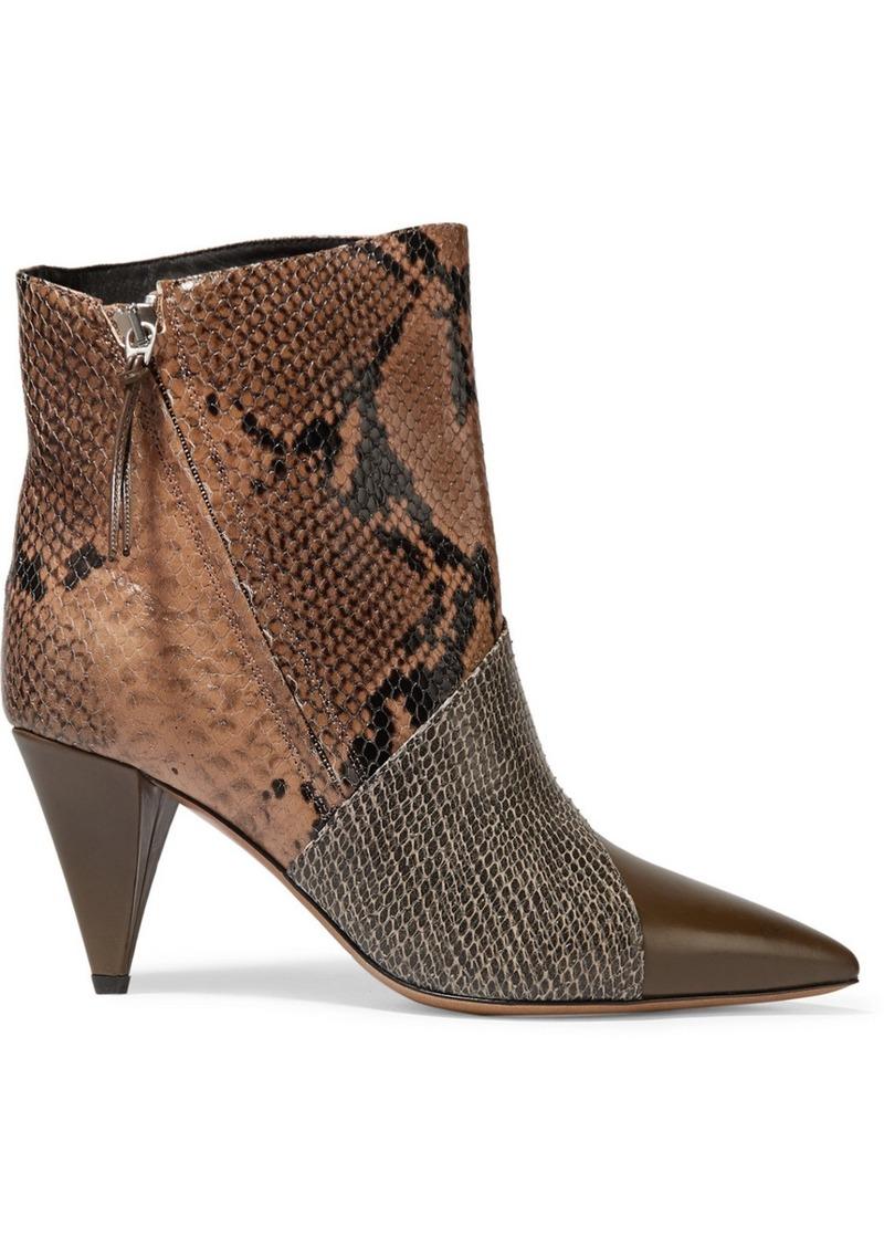 Isabel Marant Latts Paneled Snake-effect Leather Ankle Boots