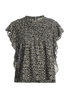 Isabel Marant Layona Floral Short-Sleeve Blouse