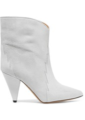 Isabel Marant Leider Suede And Lizard-effect Leather Ankle Boots