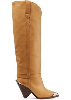 Isabel Marant Lenskee Metal-trimmed Leather Knee Boots