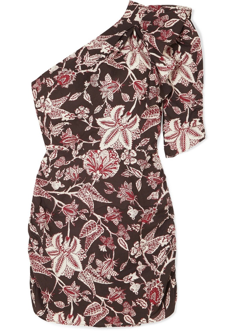 Isabel Marant Lilia One-shoulder Floral-print Cotton Mini Dress