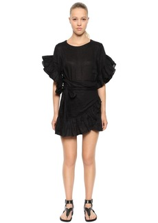 Isabel Marant Linen Ruffled Wrap Dress