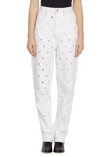 Isabel Marant Lorny Perforated Denim Mom Jeans