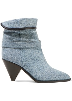 Isabel Marant Luam Leather-trimmed Denim Ankle Boots