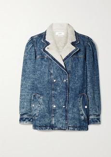 Isabel Marant Lucinda Faux Shearling-lined Acid-wash Denim Jacket
