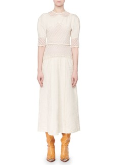 Isabel Marant Lydie Elbow-Sleeve Linen Lace A-Line Long Dress