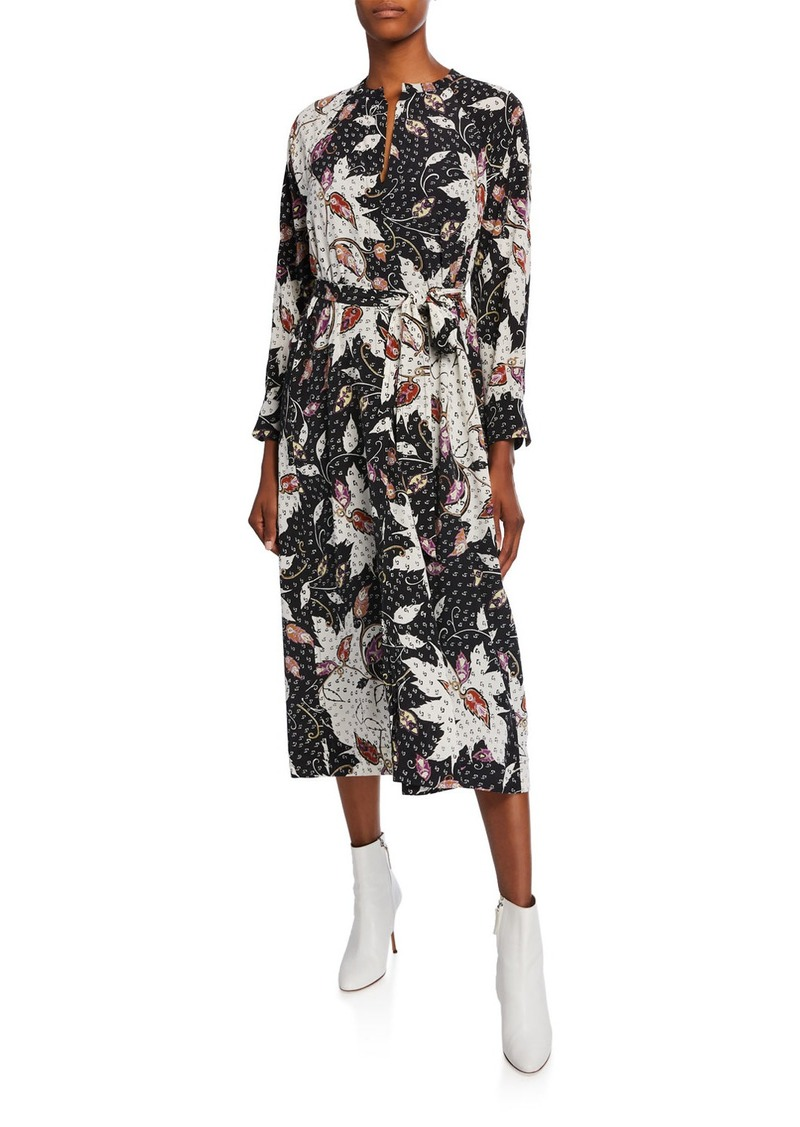 Isabel Marant Lympia Abstract Silk Midi Dress