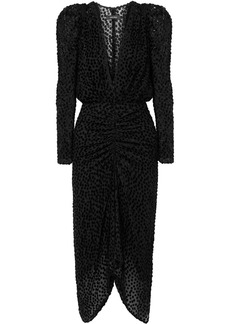Isabel Marant Maray Ruched Devoré-velvet And Tulle Dress