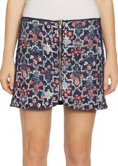 Isabel Marant Marily Reversible Floral Quilted Zip Linen Mini Skirt