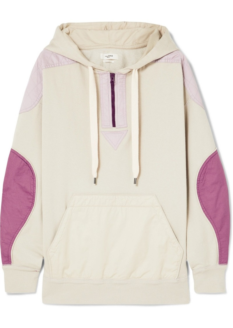 Isabel Marant Nansel Paneled Cotton-blend Jersey And Twill Hoodie