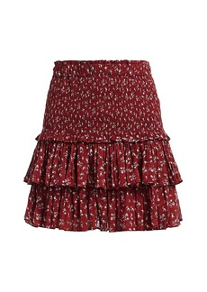 Isabel Marant Naomi Floral Smock Tier Ruffle Skirt