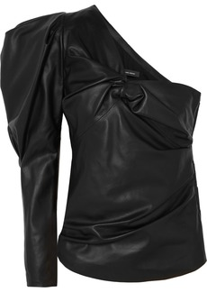 Isabel Marant Noop One-shoulder Ruched Leather Top