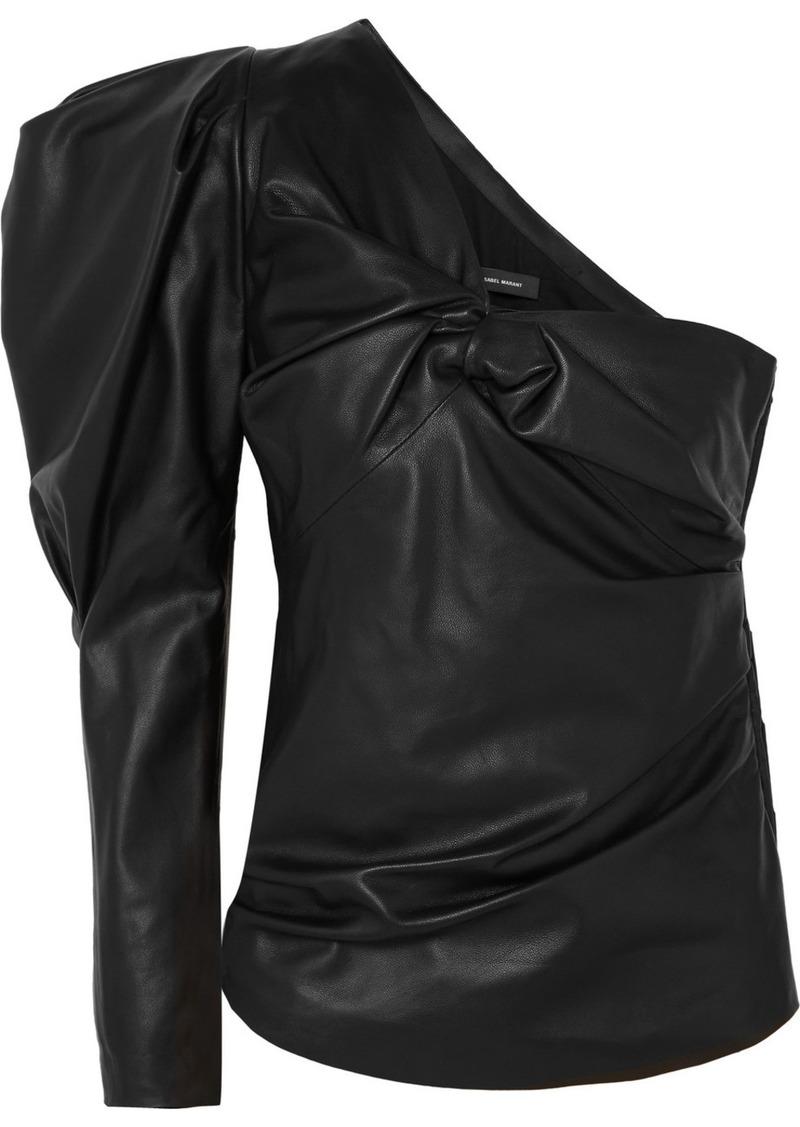 Isabel Marant Noop One-shoulder Ruched Leather Top