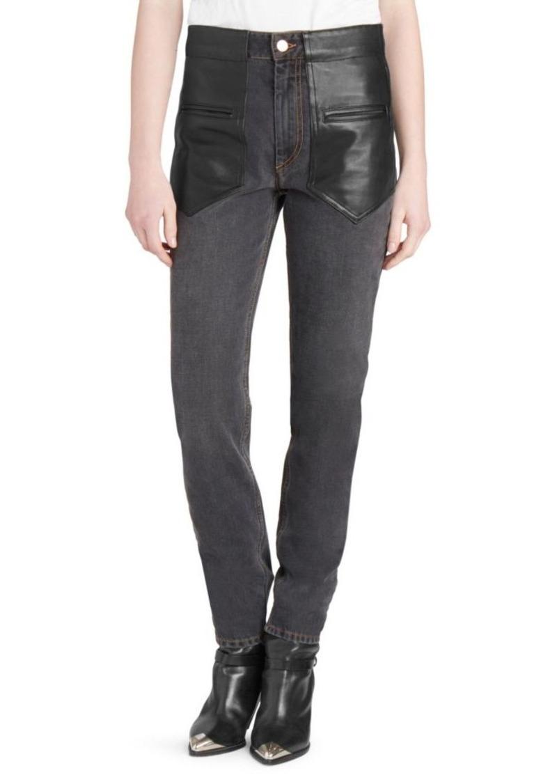 Isabel Marant Novera Leather-Front Jeans