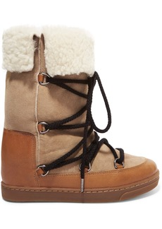 Isabel Marant Nowly Shearling-lined Textured-leather And Suede Snow Boots