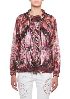 Isabel Marant Olaz Hawaiian-Print Sheer Pullover Hooded Anorak Jacket