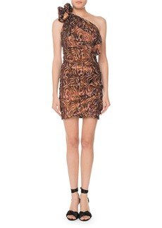 Isabel Marant One-Shoulder Metallic-Jacquard Mini Cocktail Dress