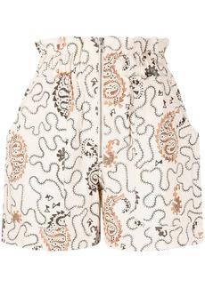 Isabel Marant paisley print high-waisted shorts