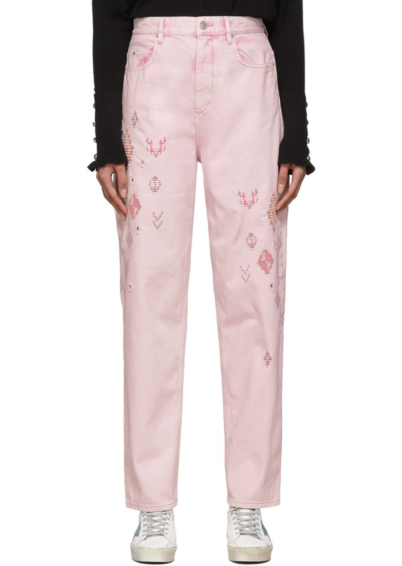 Isabel Marant Pink Embroidered Corsyb Jeans