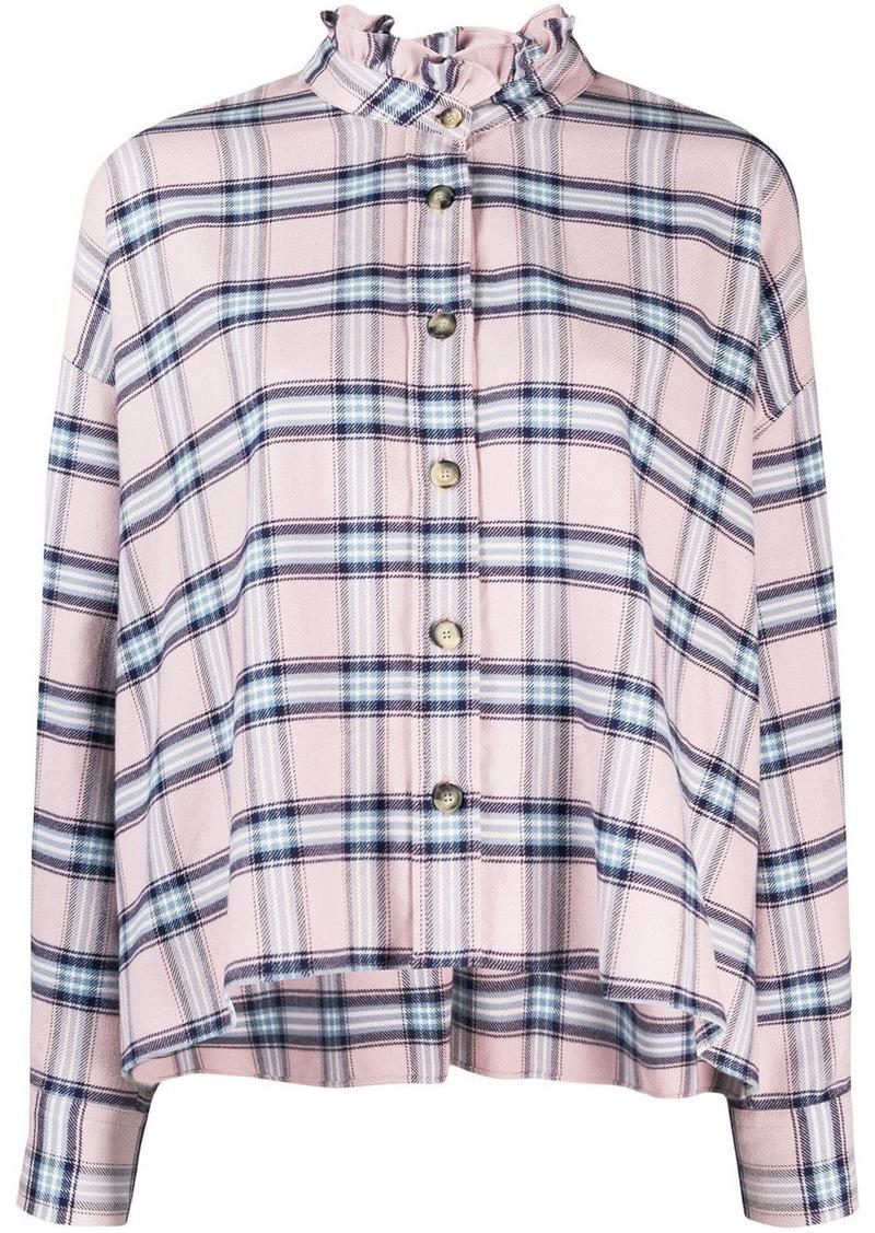 Isabel Marant plaid ruffle neck shirt