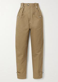 Isabel Marant Pulcie Suede-trimmed Cotton-canvas Tapered Pants