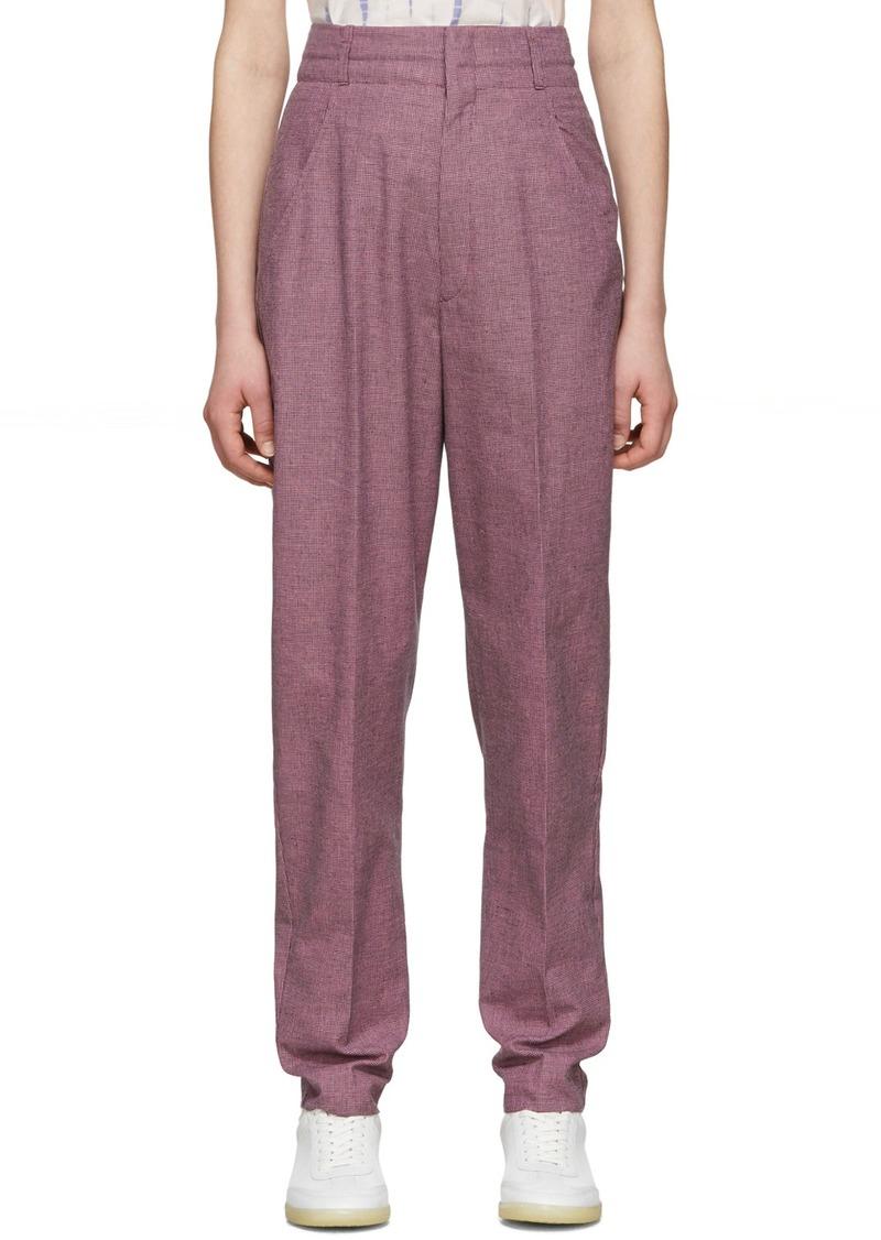 Isabel Marant Purple & Black Linen Loulia Trousers
