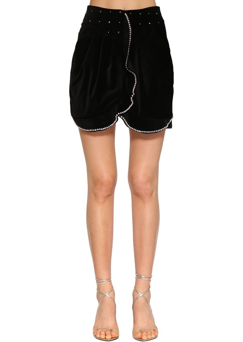 Isabel Marant Queeny Embellished Velvet Mini Skirt