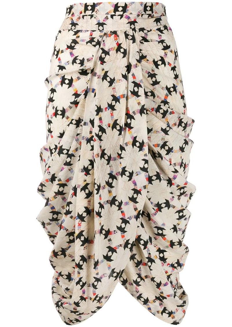 Isabel Marant quilted drape midi skirt