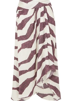 Isabel Marant Rebeca Asymmetric Printed Satin Midi Skirt