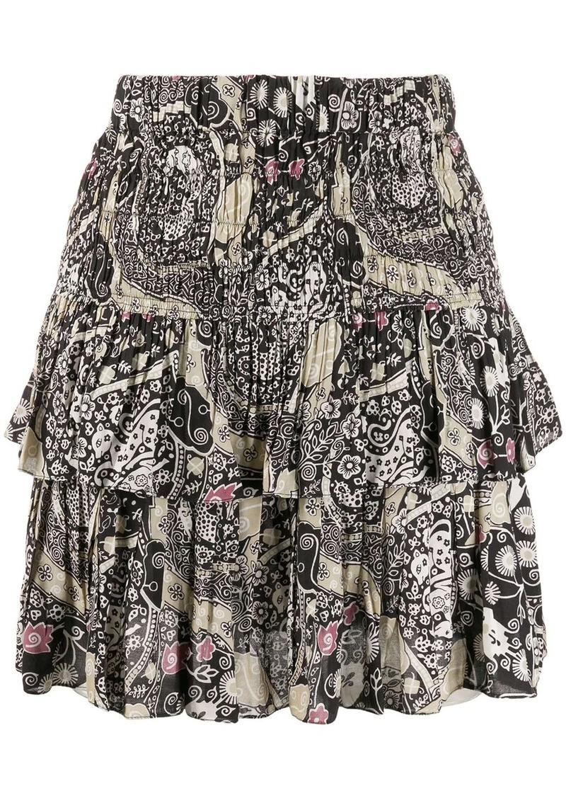 Isabel Marant ruched layered paisley print skirt
