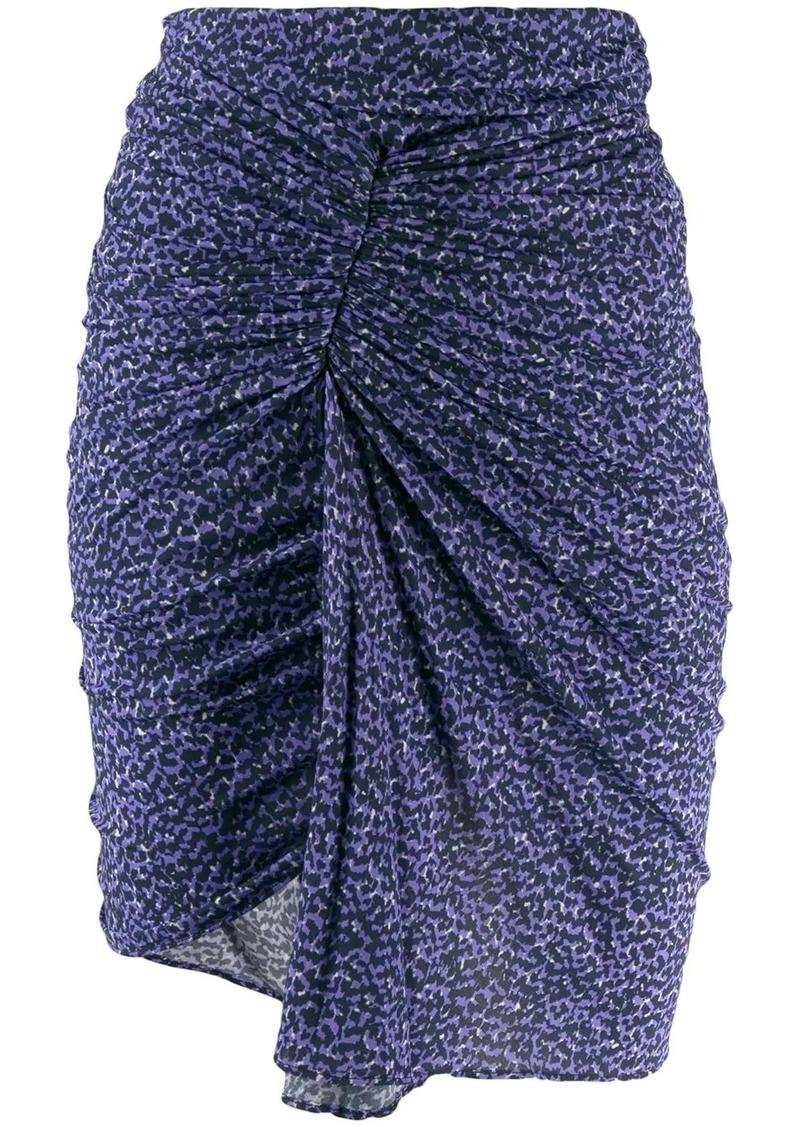 Isabel Marant ruched leopard print skirt