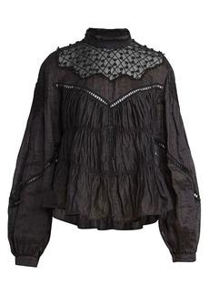 Isabel Marant Samantha Embroidered High-Neck Blouse