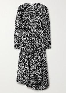 Isabel Marant Serali Asymmetric Printed Crepe Midi Dress