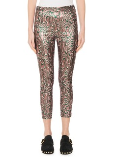 Isabel Marant Sevada Cropped Metallic Jacquard Stretch Leggings