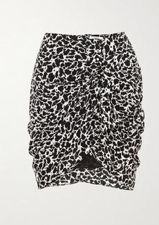 Isabel Marant Sky Ruched Printed Crepe De Chine Mini Skirt