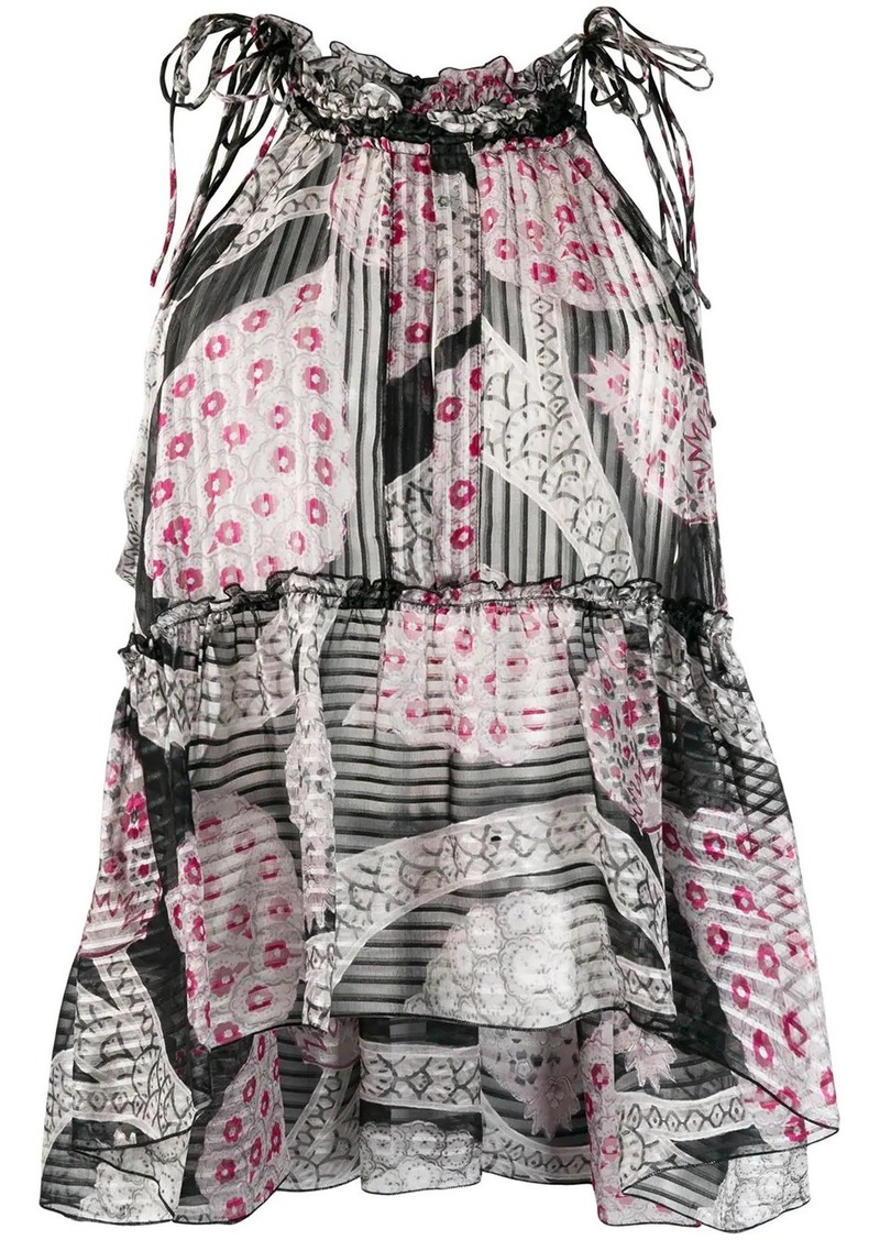 Isabel Marant sleeveless floral panelled top