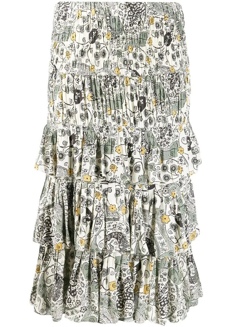 Isabel Marant smocked midi skirt