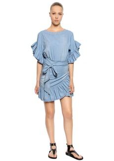 Isabel Marant Stretch Cotton Chambray Ruffled Dress