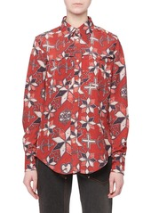 Isabel Marant Techno-Pattern Button-Front Long-Sleeve Blouse