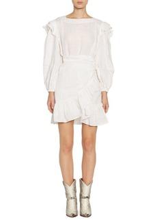 Isabel Marant Telicia Long-Sleeve Ruffle Linen A-Line Wrap Dress