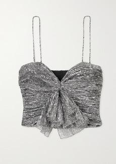 Isabel Marant Tresha Cropped Bow-detailed Plisse-lame Top