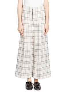 Isabel Marant Trevi Prince Of Wales Check Wide-Leg Cropped Pants