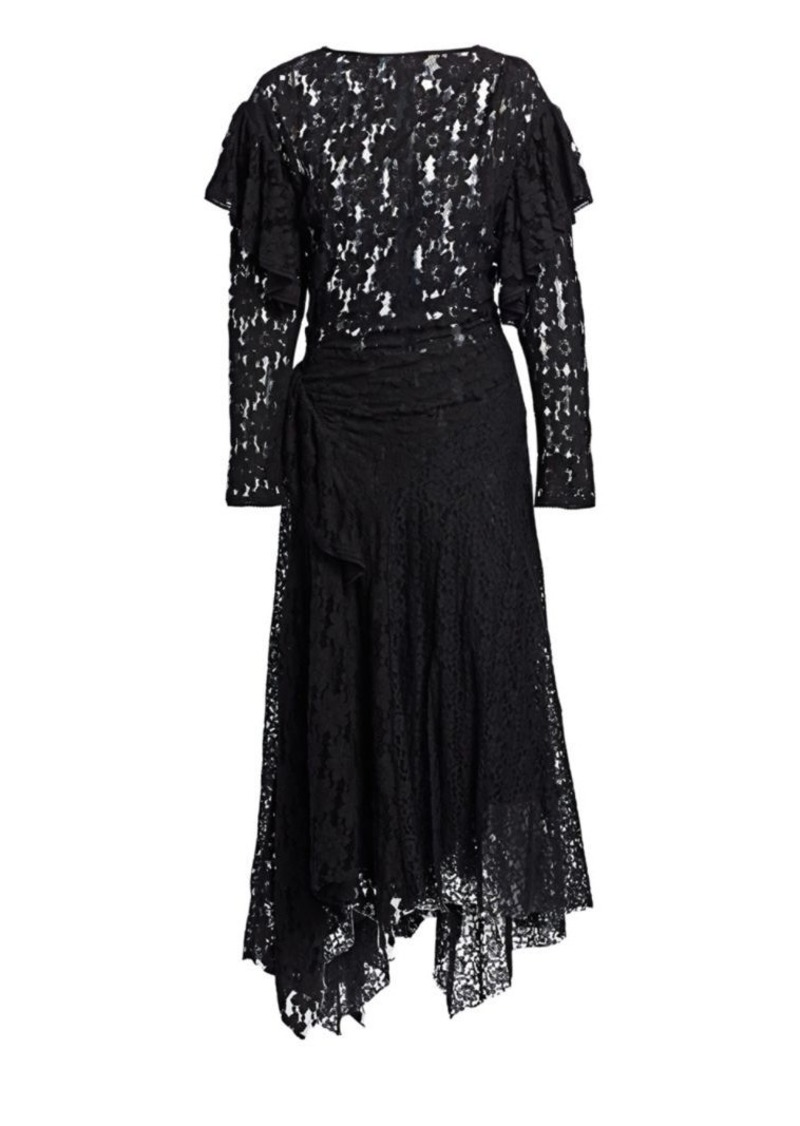 Isabel Marant Vally Ruffled Lace Midi Dress