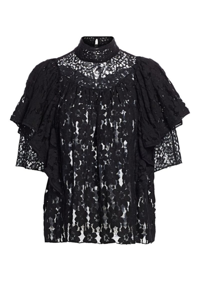 Isabel Marant Veta Sheer Lace Top
