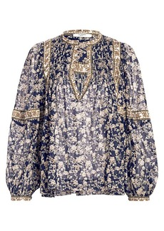 Isabel Marant Violette Midnight Print Floral Puff-Sleeve Blouse