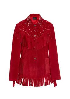 Isabel Marant Women's Bel Fringed Suede Jacket - Red - Moda Operandi