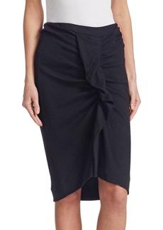 Isabel Marant Joca Wool Jersey Ruched Pencil Skirt