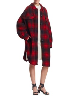 Isabel Marant Gario Oversized Wool-Blend Flannel Plaid Coat