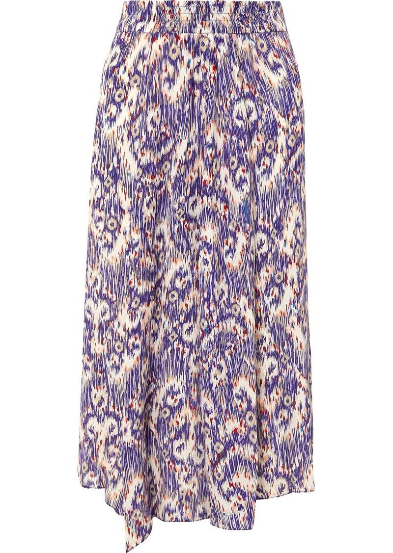Isabel Marant Yeba Asymmetric Printed Silk Crepe De Chine Midi Skirt